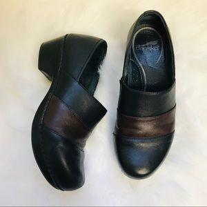 Dansko clogs slip on shoes black with brown stripe